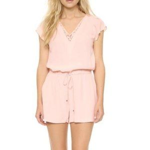 NWT Rebecca Taylor Faded Blossom Crepe Romper Pink